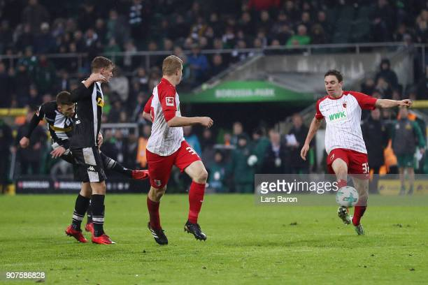 Thorgan Hazard of Moenchengladbach scores a goal to make it 20 during the Bundesliga match between Borussia Moenchengladbach and FC Augsburg at...