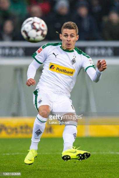 Thorgan Hazard of Monchengladbach scores his teams first goal during the Bundesliga match between Borussia Moenchengladbach and Hannover 96 at...