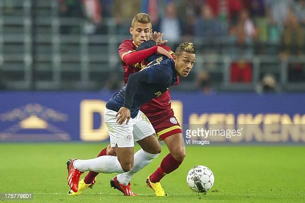 Thorgan Hazard of sv Zulte Waregem Memphis Depay of PSV