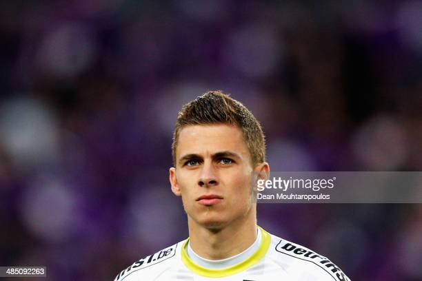 Thorgan Hazard of Zulte looks on prior to the Jupiler Pro League match between RSC Anderlecht and Zulte Waregem at Constant Vanden Stock Stadium on...