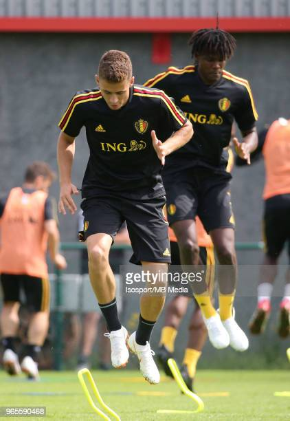 Thorgan HAZARD pictured during a training session of the Belgian national soccer team ' Red Devils ' at the Belgian National Football Center as part...