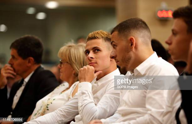 Thorgan Hazard player of Borussia Dortmund seen during the presentation of his brother Eden Hazard as new player of Real Madrid at the Estadio...