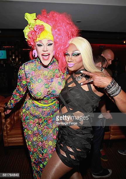 Thorgy Thor and Chi Chi DeVayne attend the RuPaul's Drag Race Season 8 Finale Party at Stage 48 on May 16 2016 in New York City