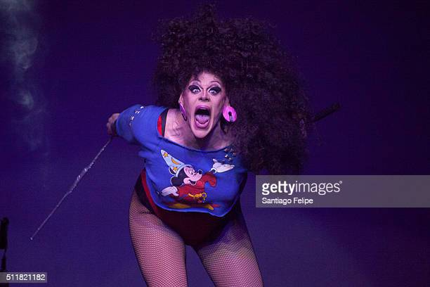 Thorgy Thor performs onstage during Logo's RuPaul's Drag Race Season 8 Premiere at Stage 48 on February 22 2016 in New York City