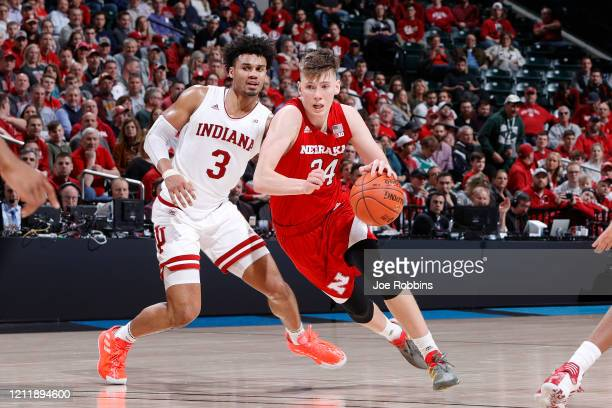 Thorir Thorbjarnarson of the Nebraska Cornhuskers drives to the basket in the second half against Justin Smith of the Indiana Hoosiers during the...
