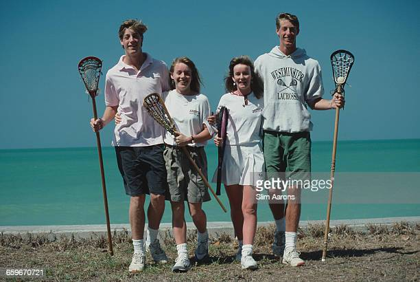 Thorne Perkin and his brother Christopher Perkin posing with two girls at Boca Grande on Gasparilla Island Florida March 1991