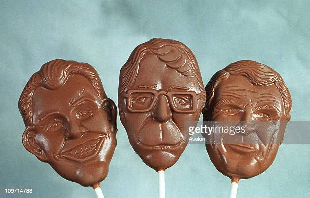 Thorntons Chocolate General Election Lollies Chocolate lollies representing the three main party leaders Left to Right Rt Hon Tony Blair MP Rt Hon...