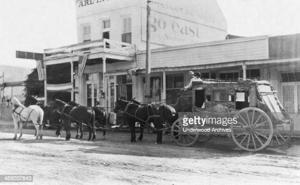 A thorobrace stagecoach in Tombstone Tombstone Arizona circa 1882