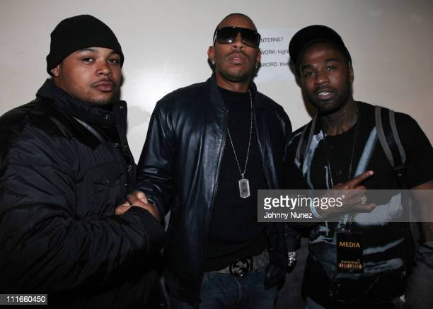 Thorough, Ludacris and Youngblood Tarzs attend MAGNUM Live Large project at Highline Ballroom on April 4, 2011 in New York City.