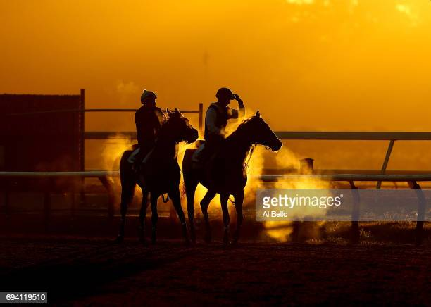 Thoroughbreds and Exercise Riders train at sunrise prior to the 149th running of the Belmont Stakes at Belmont Park at Belmont Park on June 9 2017 in...