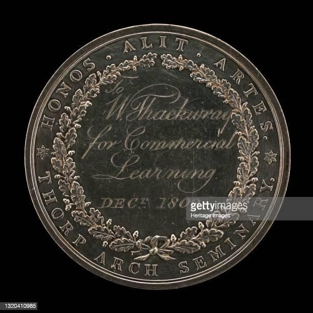 Thorp Seminary Award [reverse], circa 1800, inscribed 1809. Artist Unknown.
