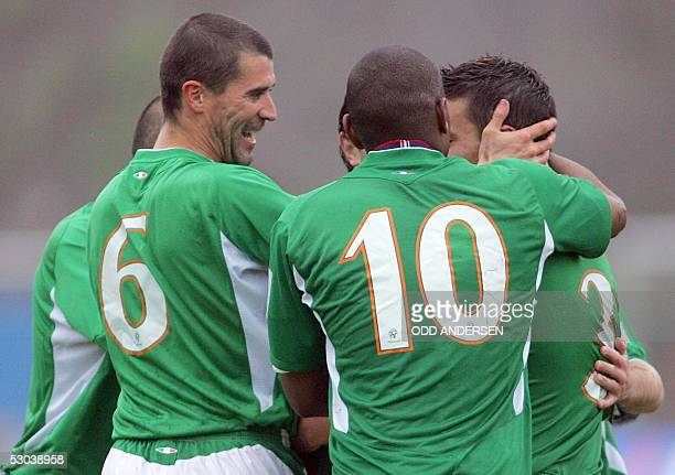 Roy Keane and Ian Harte of Ireland celebrates Harte's penalty kick to make it 10 against Faroe Islands during their World Cup 2006 qualifier match at...