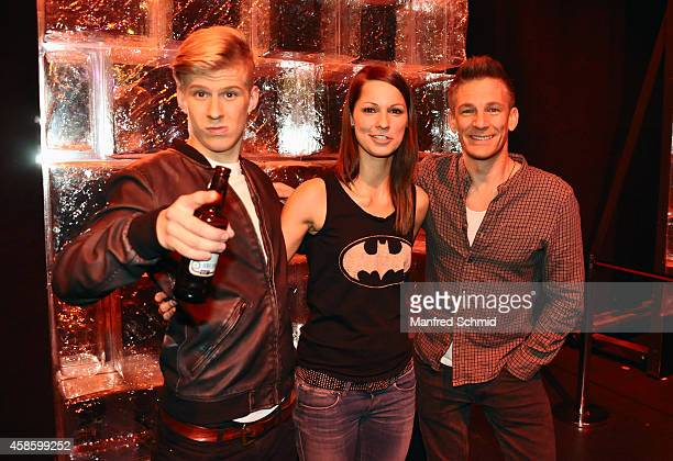 Thorsteinn Einarsson, Christina Stuermer and Andi Knoll pose for a photograph during the 'Die Grosse Chance' TV-Show final after party at ORF Zentrum...