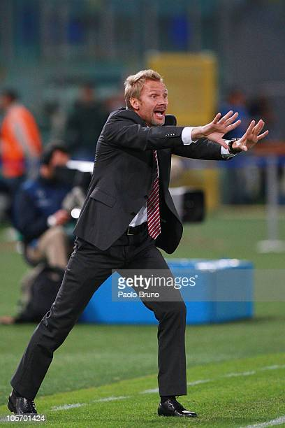 Thorsten Fink of FC Basel gestures during the UEFA Champions League group E match between AS Roma and FC Basel at Stadio Olimpico on October 19, 2010...