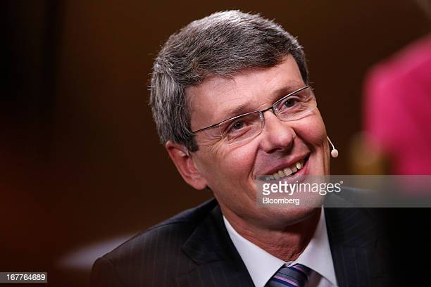 Thorsten Heins chief excutive officer of BlackBerry speaks during a Bloomberg Television interview at the annual Milken Institute Global Conference...