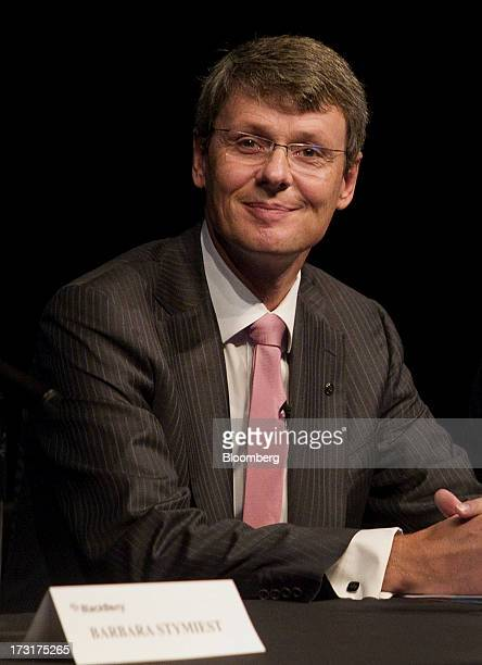 Thorsten Heins chief executive officer of BlackBerry smiles during the company's annual general meeting in Waterloo Ontario Canada on Tuesday July 9...