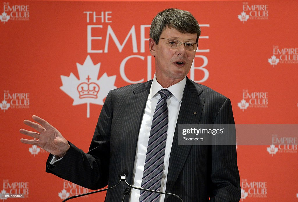 "Thorsten Heins, chief executive officer of BlackBerry, speaks during an event at the Empire Club of Canada in Toronto, Ontario, Canada, on Tuesday, Feb. 5, 2013. Heins said early sales of the Z10 smartphone are ""encouraging"" and that users are switching from other platforms. Photographer: Aaron Harris/Bloomberg via Getty Images"