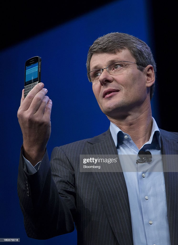 Thorsten Heins, chief executive officer of Research In Motion Ltd., speaks during the launch of the BlackBerry 10 in New York, U.S., on Wednesday, Jan. 30, 2013. Research In Motion Ltd., taking the name of its best-known product, will now be known simply as BlackBerry, part of a comeback plan that includes unveiling a redesigned line of smartphones today. Photographer: Scott Eells/Bloomberg via Getty Images
