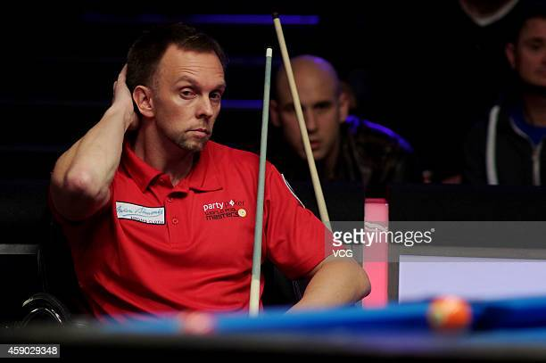 Thorsten Hohman of Germany reacts against Nikos Ekonomopoulos of the Hellenic Republic on day one of the Partypoker World Pool Masters 2014 at...