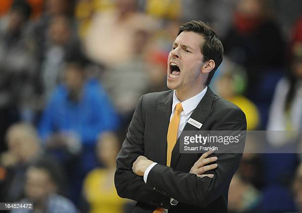 Thorsten Leibenath head coach of Ulm gestures during the Beko BBLTop Four final game between Ratiopharm Ulm and Alba Berlin at O2 World on March 24...