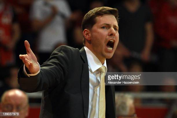 Thorsten Leibenath head coach of Ulm reacts during the Beko Basketball match between FC Bayern Muenchen and ratiopharm Ulm at AudiDome on February 15...