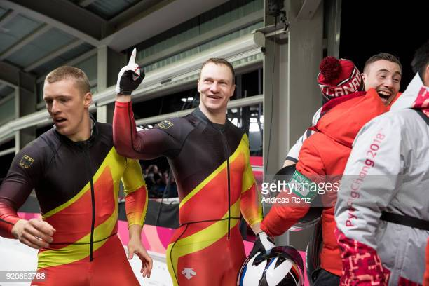 Thorsten Margis and Francesco Friedrich of Germany celebrate winning joint gold during the Men's 2Man Bobsleigh on day 10 of the PyeongChang 2018...