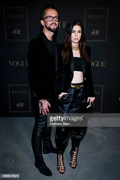 Thorsten Mindermann and Lena MeyerLandrut attends the BALMAIN x HM Berlin Launch Party on November 4 2015 in Berlin Germany