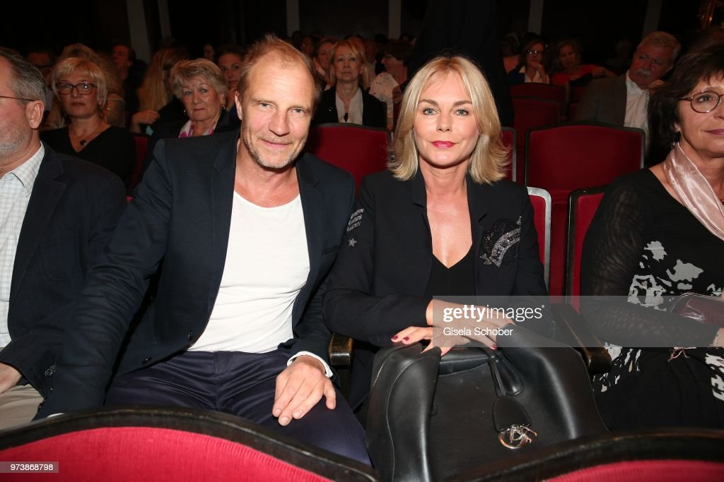 Thorsten Nindel and his former girlfriend Saskia Valencia during the 'Mirandolina' premiere at Komoedie Bayerischer Hof on June 13, 2018 in Munich, Germany.