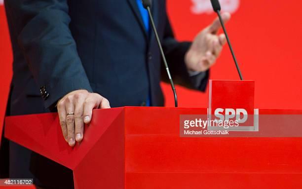 Thorsten SchaeferGuembel deputy chairman of SPD party attends a press conference in WillyBrandtHaus on July 27 2015 in Berlin Germany