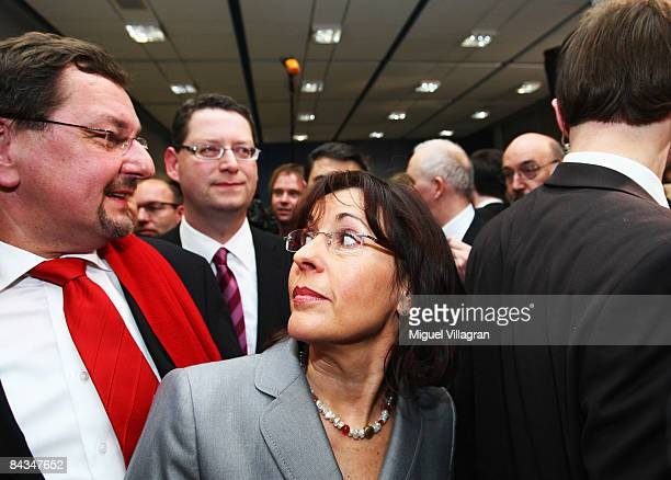Thorsten SchaeferGuembel top candidate of the Social Democratic Party and Andrea Ypsilanti leave the room after delivering a speech to the party...