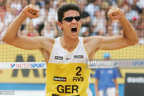 Thorsten Schoen of Germany celebrates winning a point during the match between Marvin Polte and Thorsten Schoen of Germany and Dimitri Barsouk and...