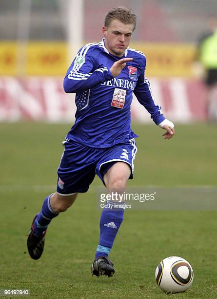 Thorsten Schulz of Unterhaching during the 3Liga match between SpVgg Unterhaching and Bayern Muenchen II at the Generali Sportpark on January 24 2010...