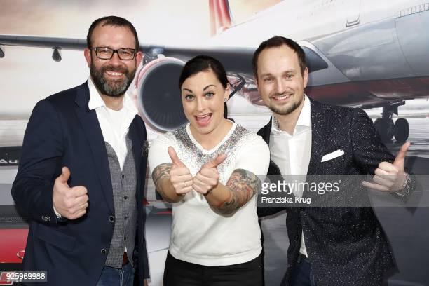 Thorsten Schwartz Lina van de Mars and Kim Feigl during the mydays Erlebniswerk opening on March 1 2018 in Berlin Germany