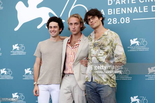 Thorvald Spartan Daggenhurst Olmo Schnabel and director Grear Patterson attend Giants Being Lonely photocall during the 76th Venice Film Festival at...