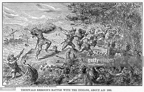 'Thorwald Erikson's Battle with the Indians about AD 1003' Norse explorer Thorvald Eriksson fighting Native Americans Illustration from Popular...