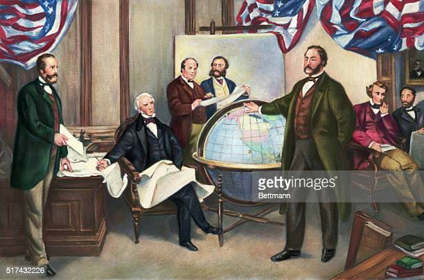 Those shown at the signing of the Alaska Treaty of Cessation are are Robert S. Chew , William H. Seward , William Hunter , Mr. Bodisco, Russian...