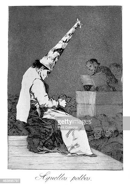 'Those specks of dust, Perrico the cripple', 1799. Perrico caught giving love potions to lovers, plate 23 of 'Los caprichos'. Los Caprichos were...