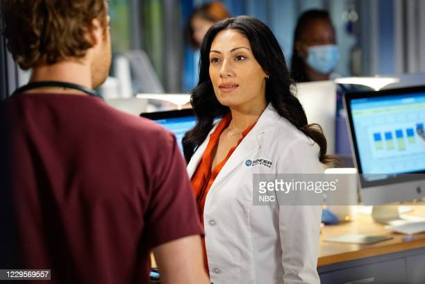 """Those Things Hidden In Plain Sight"""" Episode 602 -- Pictured: Nick Gehlfuss as Dr. Will Halstead, Tehmina Sunny as Dr. Sabeena Virani --"""