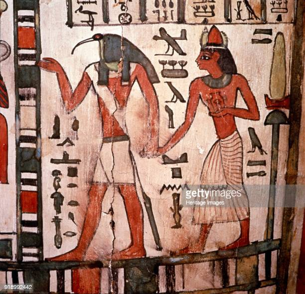 Thoth Ibisheaded god leads the deceased to the Underworld Mummycase of Pensenhor c900BC Coffin of Pensenhor 22nd Dynasty Thebes Egypt At British...