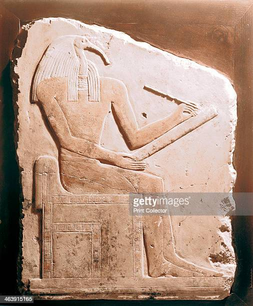 Thoth ibisheaded god of the Moon Ancient Egyptian 5th6th Dynasty Thoth was patron of scribes and magicians and secretary of the gods Limestone relief