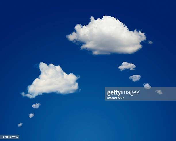 thought bubble clouds - thought bubble stock pictures, royalty-free photos & images