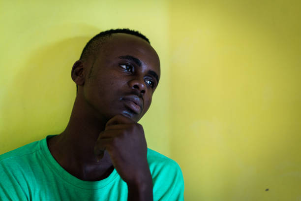 Thoughtful black african american man
