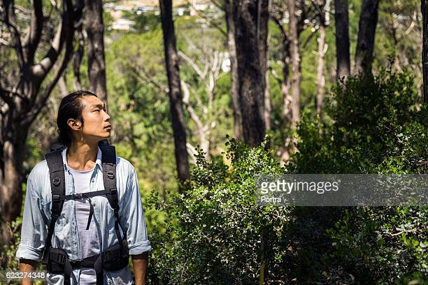 Thoughtful hiker standing against trees in forest