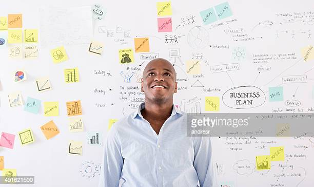 Thoughtful man thinking about a business plan