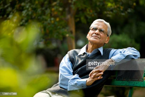 thoughtful senior man at park - india stock pictures, royalty-free photos & images
