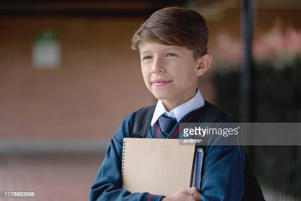 thoughtful student at the school - boarding school stock photos and pictures