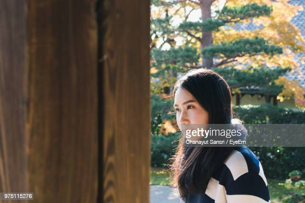 thoughtful woman by wood against trees - chanayut stock photos and pictures