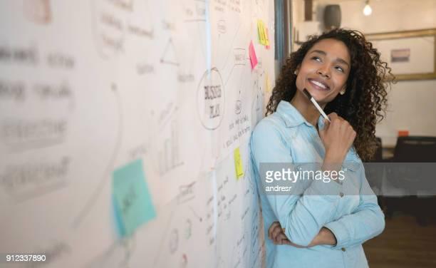 Nachdenkliche Frau skizzieren einen Business-Plan bei einem kreativ-Büro