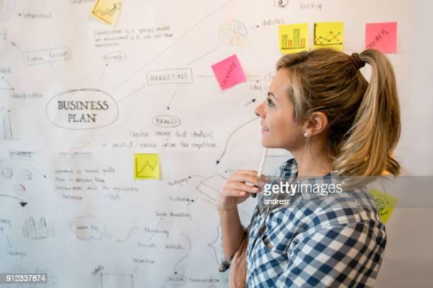 Nachdenkliche Frau skizzieren einen Business-Plan im Büro