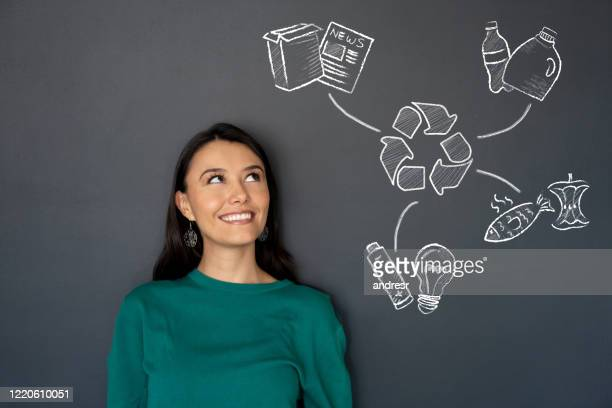 thoughtful woman thinking about recycling - chalk wall stock pictures, royalty-free photos & images